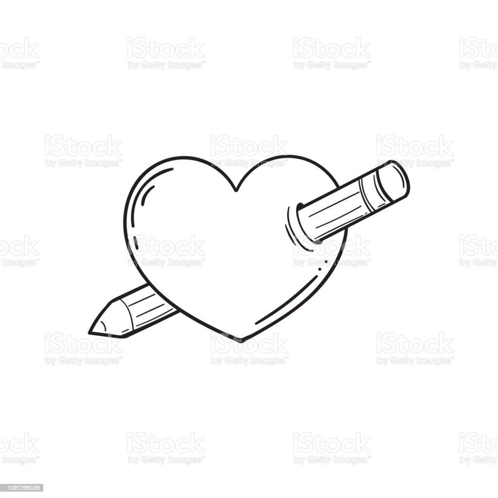 Kalp Bir Kalem Ile Deldi Vektor Cizim Doodle Tarzi Sevgililer Gunu
