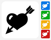 Heart Pierced With Arrow Icon Flat Graphic Design