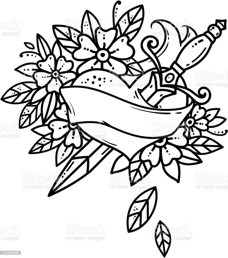 Herz mit Dolch durchbohrt. Schwarz / weiß-Tattoo. Herz mit Schleife und Blumen. Old School-Stil – Vektorgrafik