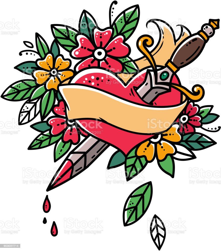 Herz mit Dolch durchbohrt. Herz mit Schleife und Blumen. Herz blutet. Retro-Tattoo. Oldschool Retro-Abbildung. – Vektorgrafik