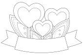 Black and white heart plants with leafs and ribbon with place for text. Coloring book page for adults and kids. Valentine day holiday vector illustration for gift card, flyer, certificate or banner