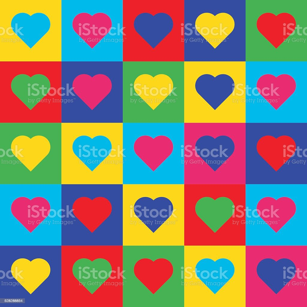 Heart pop art pattern vector art illustration