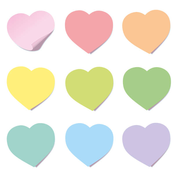 illustrazioni stock, clip art, cartoni animati e icone di tendenza di heart post collection. sticky notes, heart shaped, different colors. isolated vector illustration on white background. - post it