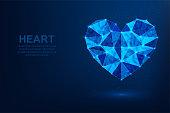 Love. Abstract vector polygonal wireframe concept. Illustration dark blue background.  Heart symbol diamond shape
