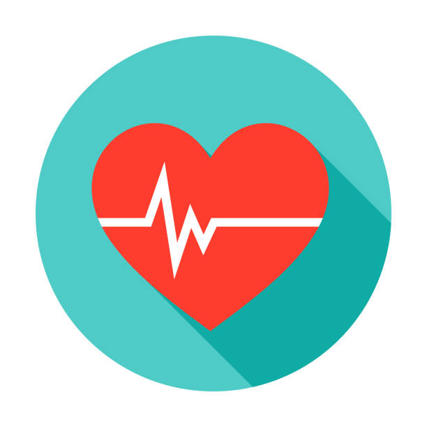 illustrazioni stock, clip art, cartoni animati e icone di tendenza di heart pulse circle icon - elettrocardiogramma