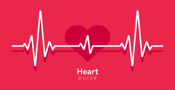 Heart pulse. Heartbeat line, cardiogram. Red and white colors. Beautiful healthcare, medical background. Modern simple design. Icon. sign or logo. Flat style vector illustration. Heart pulse. Heartbeat line, cardiogram. Red and white colors. Beautiful healthcare, medical background. Modern simple design. Icon. sign or logo. Flat style vector illustration. taking pulse stock illustrations