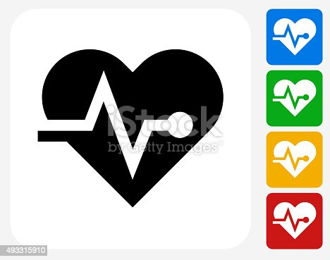 Heart Pulse Icon. This 100% royalty free vector illustration features the main icon pictured in black inside a white square. The alternative color options in blue, green, yellow and red are on the right of the icon and are arranged in a vertical column.