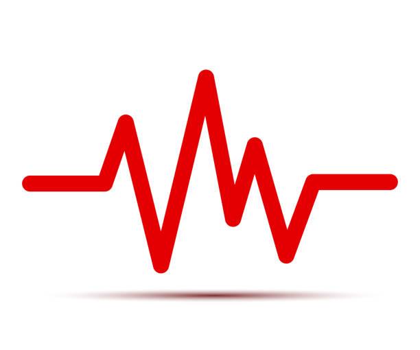 heart pulse, one line, cardiogram, heartbeat - for stock vector - rytm stock illustrations