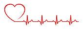Heart pulse, one line - vector