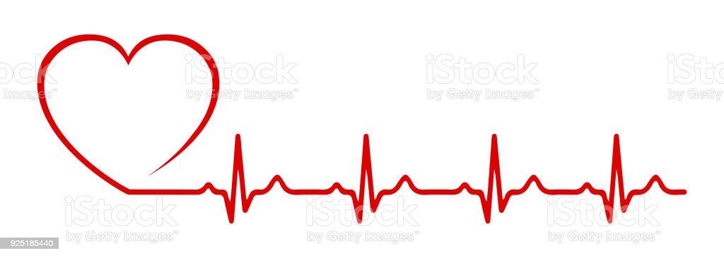 Impulsion de cœur, une seule ligne - vector - Illustration vectorielle