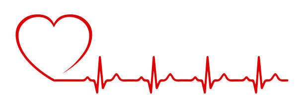 illustrazioni stock, clip art, cartoni animati e icone di tendenza di heart pulse, one line - vector - elettrocardiogramma
