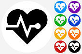 Heart Pulse Rate.The icon is black and is placed on a round blue vector button. The button is flat white color and the background is light. The composition is simple and elegant. The vector icon is the most prominent part if this illustration. There are eight alternate button variations on the right side of the image. The alternate colors are orange, red, purple, yellow, black, green, blue and indigo.