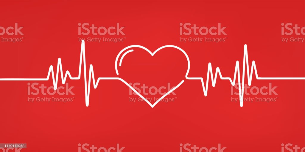 심장 박동. 빨간색과 흰색 색상. 심장 박동, 심전도. 아름 다운 의료, 의료 배경입니다. 모던 한 심플한 디자인. 아이콘. 서명 또는 로고. 평면 스타일 벡터 일러스트입니다. - 로열티 프리 건강 진단 벡터 아트
