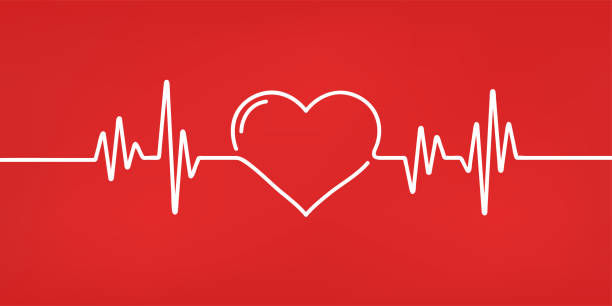 illustrazioni stock, clip art, cartoni animati e icone di tendenza di heart pulse. red and white colors. heartbeat lone, cardiogram. beautiful healthcare, medical background. modern simple design. icon. sign or logo. flat style vector illustration. - elettrocardiogramma