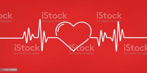 심장 박동 빨간색과 흰색 색상 심장 박동 심전도 아름 다운 의료 의료 배경입니다 모던 한 심플한 디자인 아이콘 서명 또는 로고 평면 스타일 벡터 일러스트입니다 건강 진단에 대한 스톡 벡터 아트 및 기타 이미지