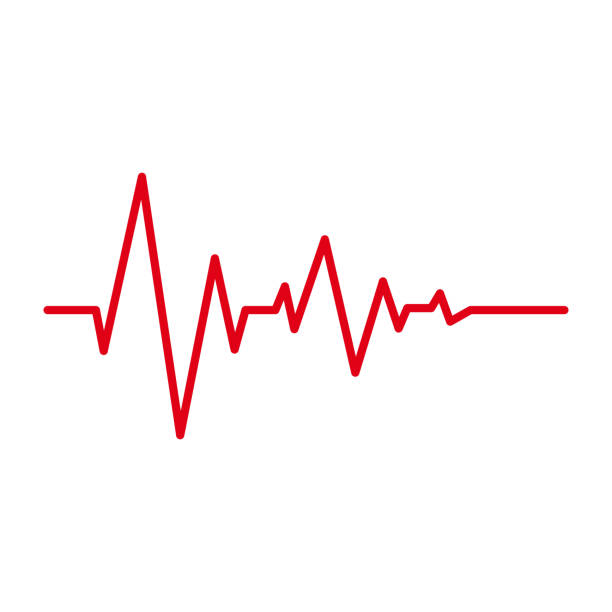 illustrazioni stock, clip art, cartoni animati e icone di tendenza di heart pulse red line cardiogram vector isolated icons on white background. heartbeat cardiology medical symbol or oscilloscope graphic element - elettrocardiogramma