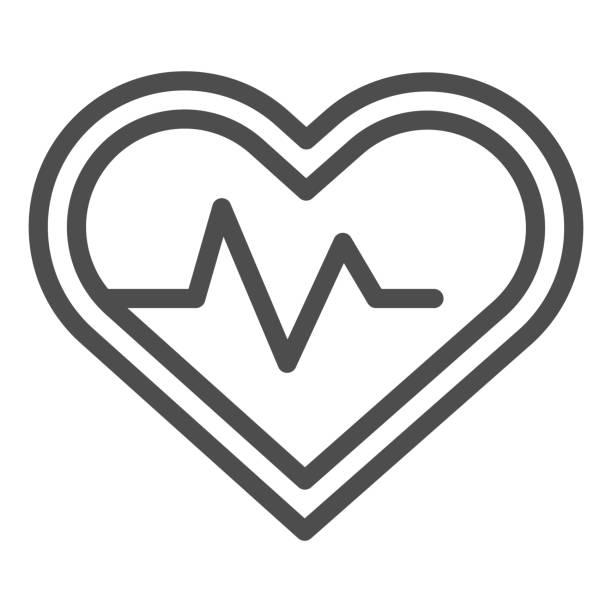 心臟脈搏跟蹤器線和固體圖示。運動員心跳率在愛情形狀符號,輪廓風格象形圖在白色背景。用於移動概念和網頁設計的健身標誌。向量圖形。 - 健康科技 幅插畫檔、美工圖案、卡通及圖標