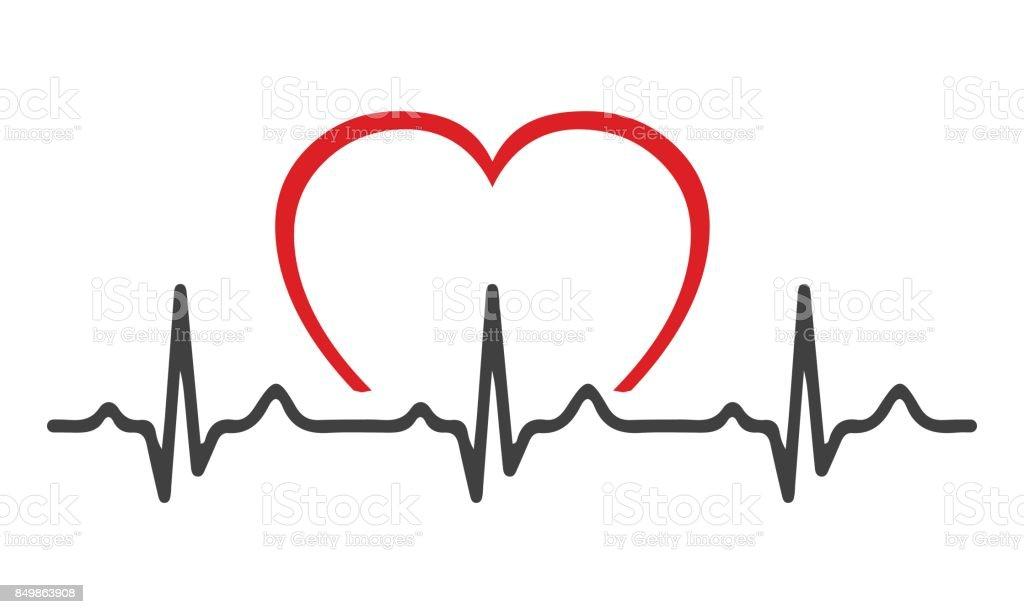 Heart pulse vector art illustration