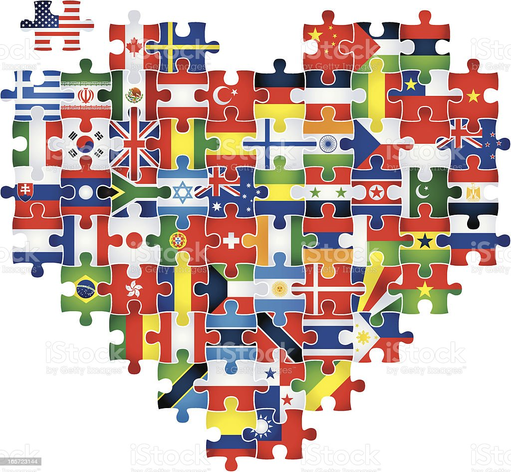 heart puzzle with flags royalty-free stock vector art