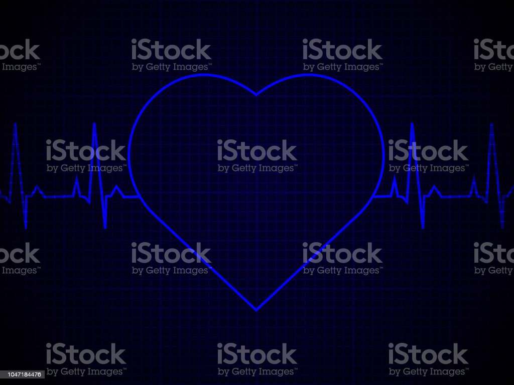 Heart Rate Heartbeat Neon Line On Blue Graphic Background Realistic