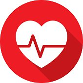 Vector illustration of a red heart rate icon in flat style.