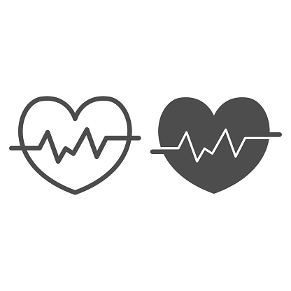 Heart rate in heart line and solid icon, Medical concept, Heartbeat sign on white background, Life line icon in outline style for mobile concept and web design. Vector graphics.
