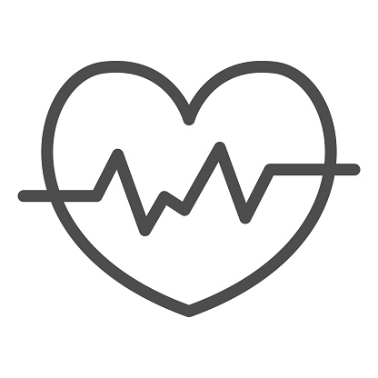 Heart rate in heart line icon, Medical concept, Heartbeat sign on white background, Life line icon in outline style for mobile concept and web design. Vector graphics.