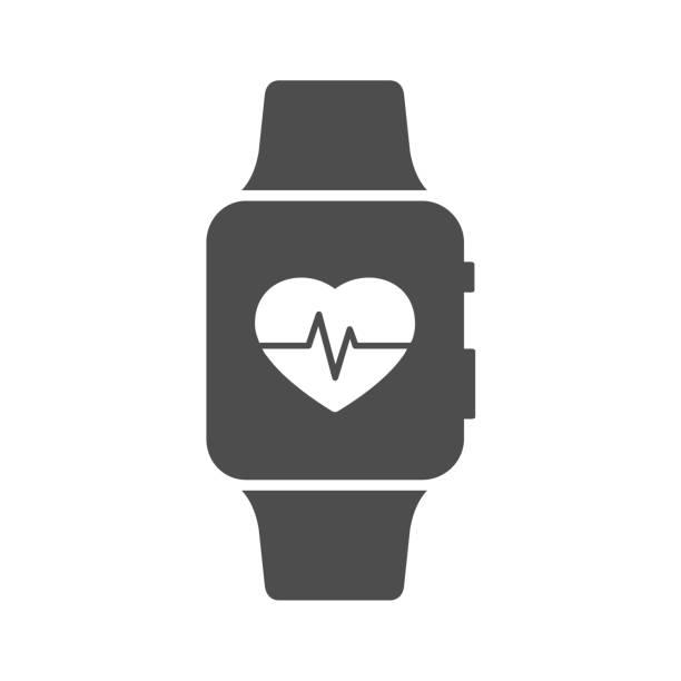 bildbanksillustrationer, clip art samt tecknat material och ikoner med puls mätare på smart watch-klocka - armbandsur