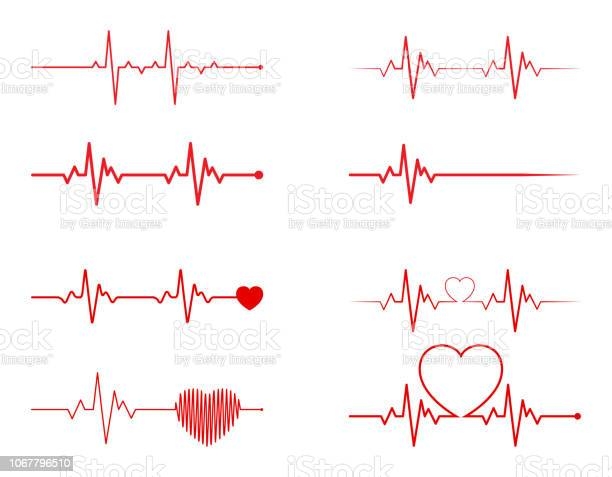 Heart rhythm set electrocardiogram ecg ekg signal heart beat pulse vector id1067796510?b=1&k=6&m=1067796510&s=612x612&h=olw0 lhpdirnkof0cxatgefanwc cpx9ugc2g0mxygw=