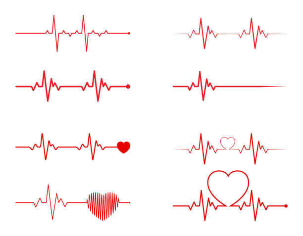 illustrazioni stock, clip art, cartoni animati e icone di tendenza di heart rhythm set, electrocardiogram, ecg - ekg signal, heart beat pulse line concept design isolated on white background - elettrocardiogramma
