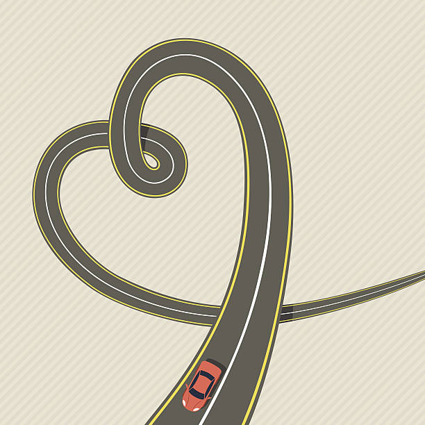 Heart Road Heart Road car love stock illustrations