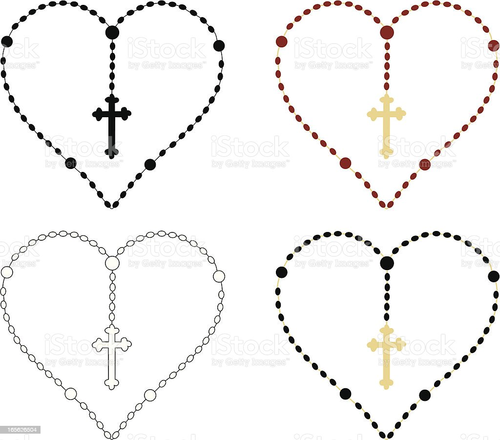 Heart Rosary Beads Stock Vector Art & More Images of Bead 165626504 ...