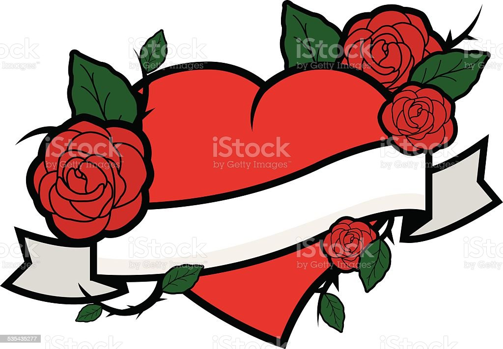 Heart With Rose And Banner: Heart Roses And Banner Stock Illustration