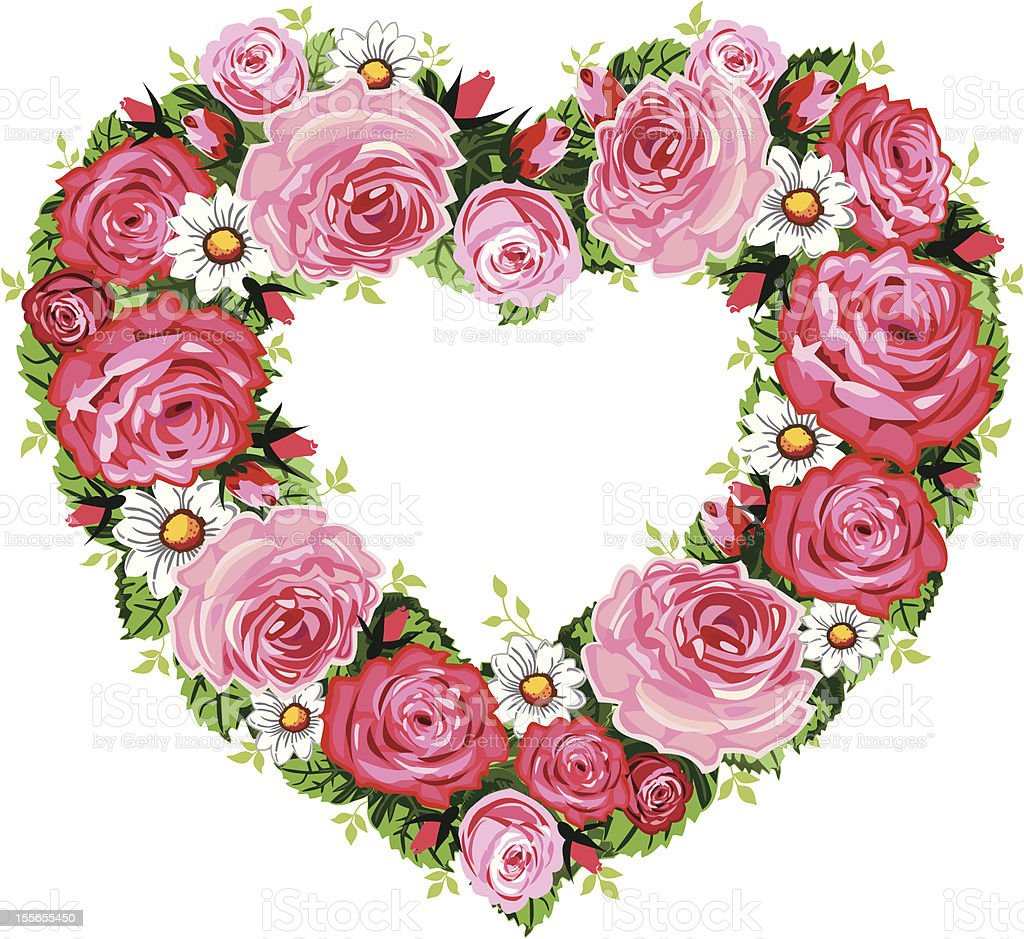 Heart roses frame vector art illustration