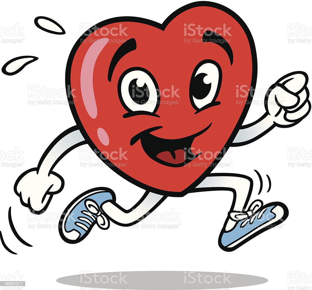 Heart Running vector art illustration