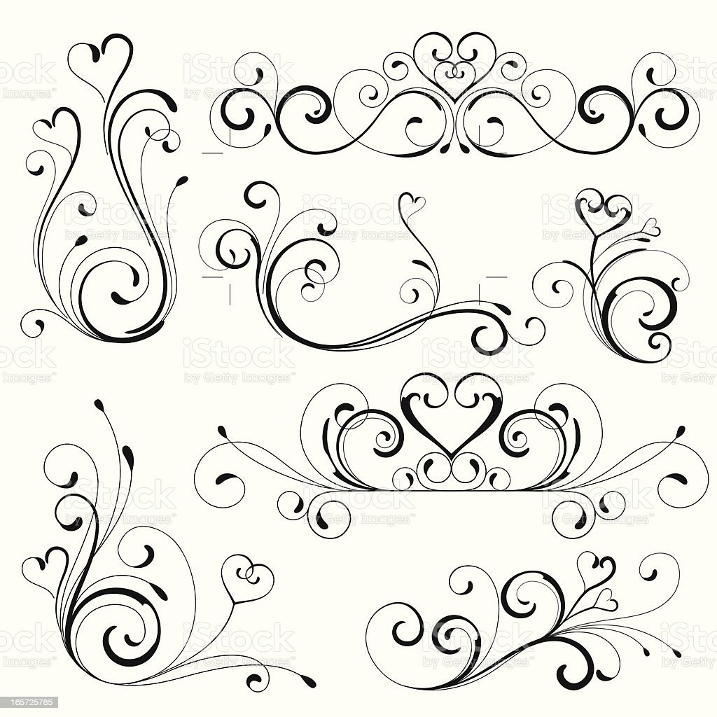 Scroll Drawing: Heart Scroll Design Stock Vector Art & More Images Of