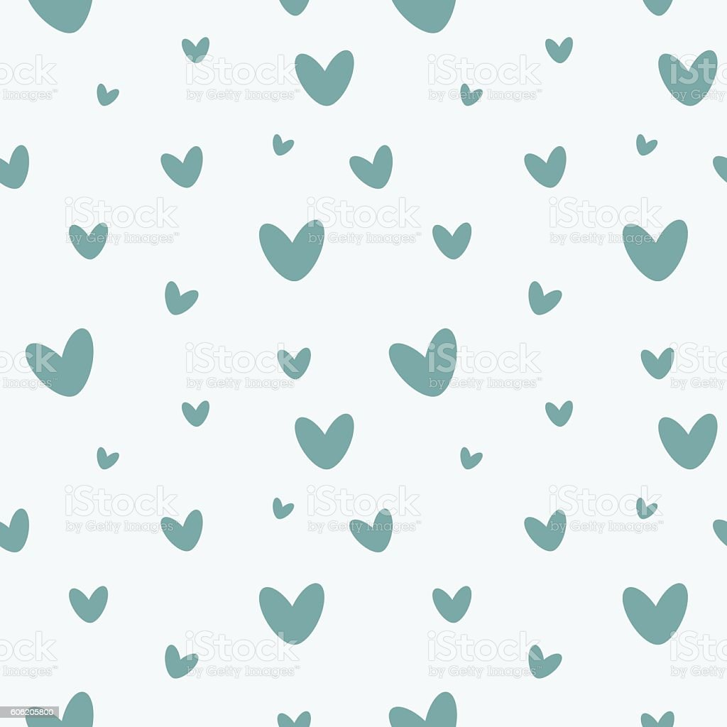 Heart Seamless Pattern Cute Blue Gray Hearts On A White