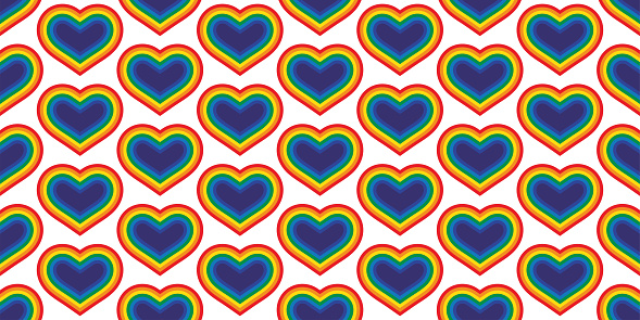 heart seamless pattern LGBT vector valentine rainbow Pride cartoon doodle scarf isolated repeat wallpaper tile background illustration design