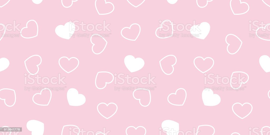 Heart Seamless Pattern Valentine Day Isolated Vector Love Icon