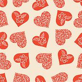 Vector heart seamless pattern .