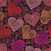 Heart vector seamless pattern.IE10.