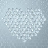 Transparent bubbles in a shape of a heart. Bubble-wrap clear bubbles on blue background. Vector-Based Illustration, No gradient mesh and 3D program used. Download Includes: High Resolution JPG, Illustrator 0.8 EPS, CS2 AI & EPS. Please check out more of my stock illustrations and photos at: http://www.istockphoto.com/portfolio/phi2