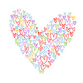 Free formed heart shape composite image made from red, yellow, green, blue, purple and pink heart shaped strokes.