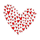 Free formed heart shape composite image made from outlined red hearts