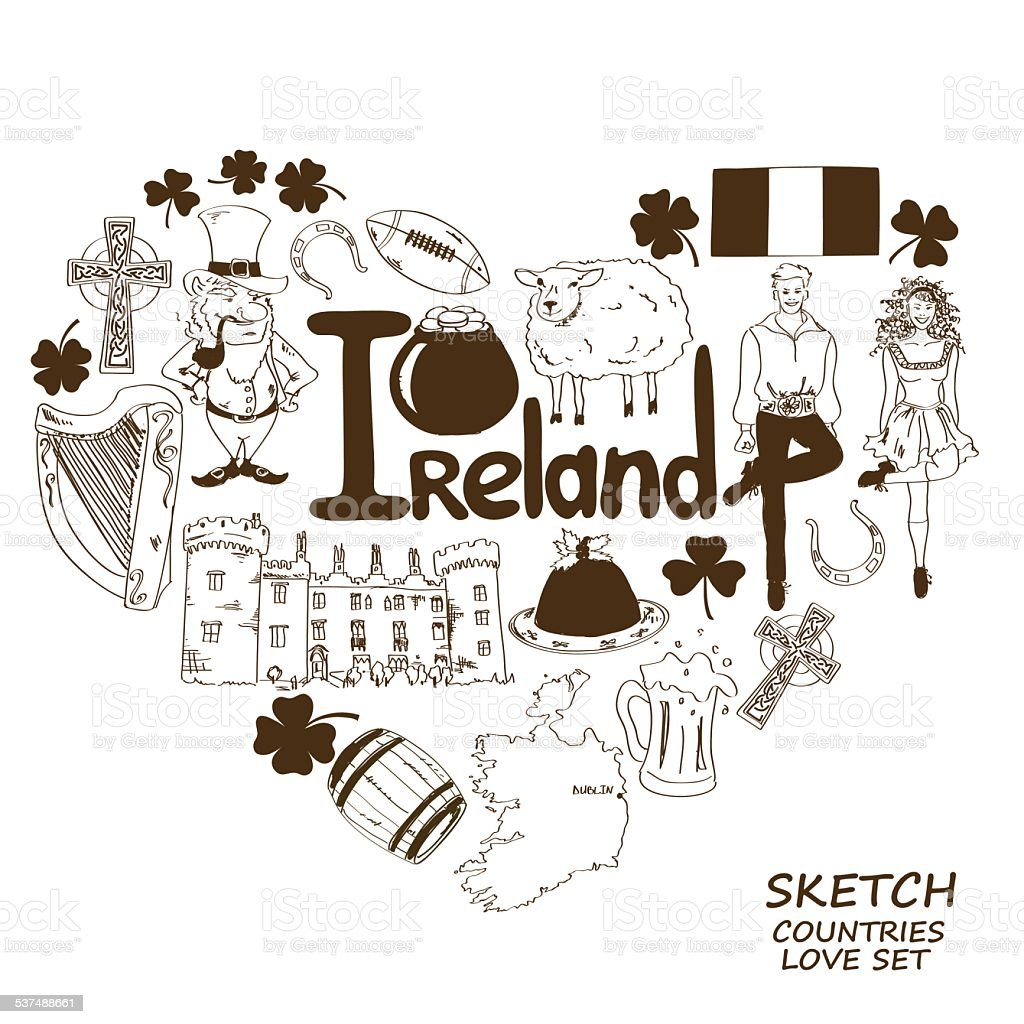 Heart Shape Concept Of Irish Symbols Stock Vector Art More Images