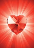 Red Heart Shape Crystal