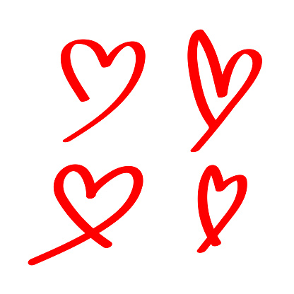 heart shape doodle line red isolated on white, heart shape art line sketch brush for valentine, heart shape sign with hand drawn for element wedding icon love card, draw a line heart shape simple