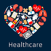 Heart shape emblem with medicine symbols