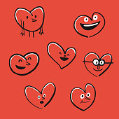 Vector illustration of a collection of heart shape emoticons