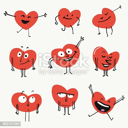 Vector illustration of a set of cute emoticon heart shapes